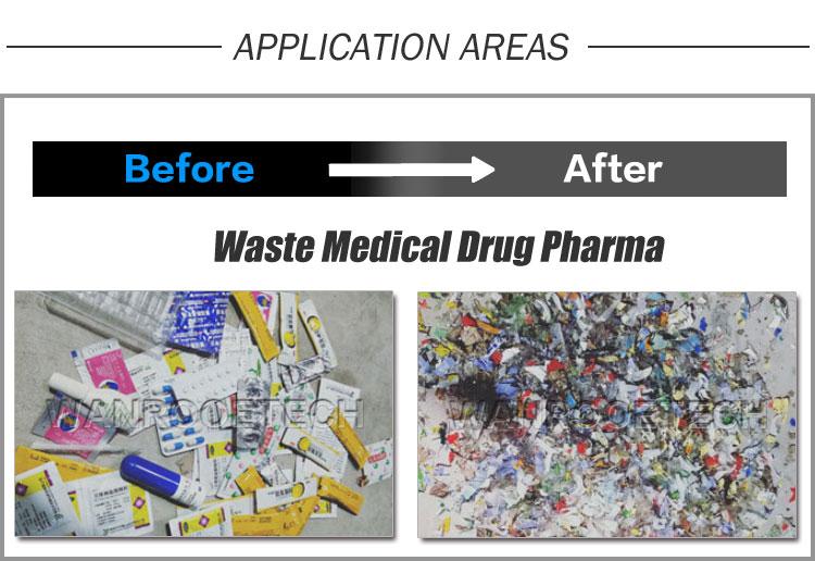 biomedical waste shredder, medical waste shredder, drug shredder, pharma shredder, medical waste disposal machine